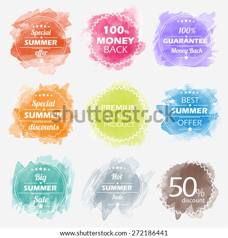 Spring offer stickers with watercolor background. Big sale. Vector Illustration.