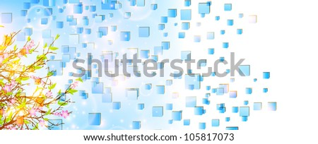 Spring or summer abstract cubes nature background with tree and blue sky