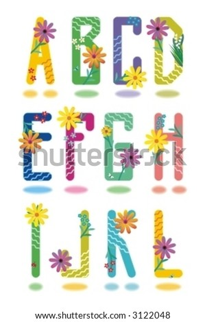 Spring or summer full alphabet set part one letters A - L ( for high res JPEG or TIFF see image 3121959 )