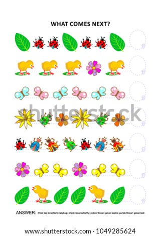 Spring or summer themed educational logic game training sequential pattern recognition skills with chicks, insects, flowers, green leaves: What comes next in the sequence? Answer included.