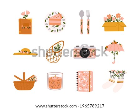 Spring or summer with seasonal elements collection. Book, cake, spoon, fork, box, hat, bag, camera, umbrella, picnic basket, candle, notebook and socks.