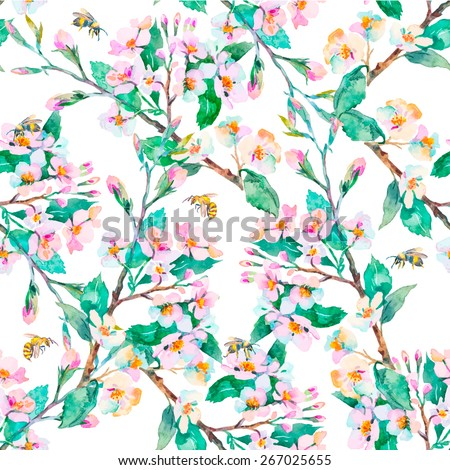 Spring pattern.Flowering branches and bees Watercolor Vector