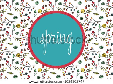 Spring pattern in circle, flower backgraund. Spring holidays, bright poster. Medicinal herbs. Pharmacy. Packing design, poster, healthy food.