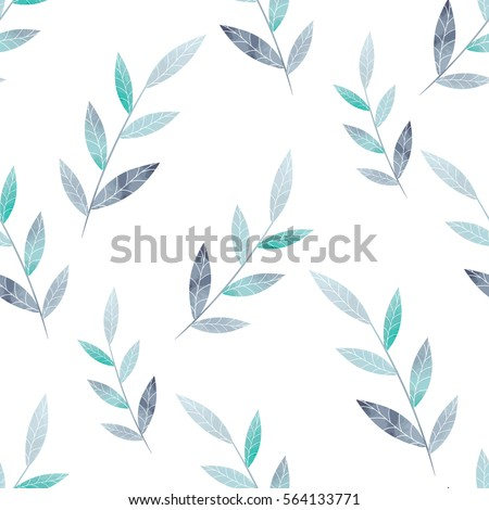 Spring pattern of leaves on a white background. Vector illustration