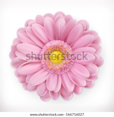 Spring pink flower 3d vector icon