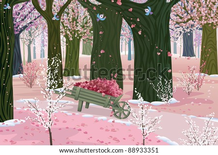 Spring pink forest - blooming trees on Valentine's Day