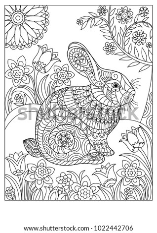 Spring rabbit coloring page for adult and children. Easter background with creative cute bunny.  Black and white vector illustration.
