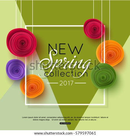 Spring rose flower on green background. Paper style, vector illustration.