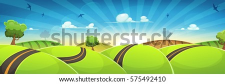 spring rounded landscape with