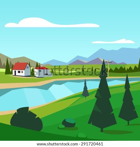 spring rural farm riverside