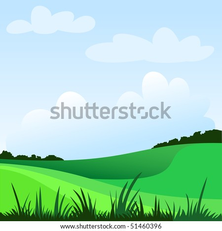 spring rural landscape with