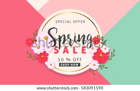 Spring sale background banner with beautiful colorful flower. Vector illustration.