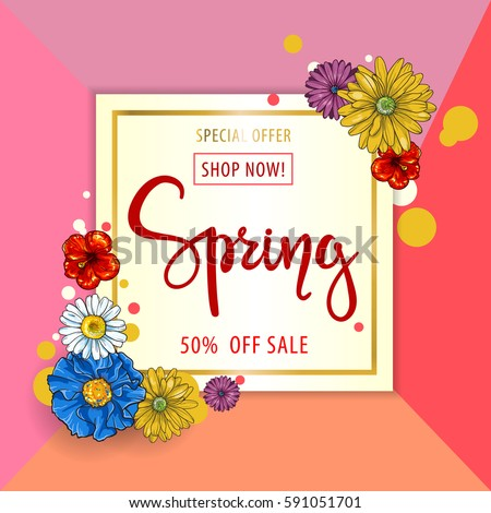 Spring sale background. Vector illustration with cartoon flowers.Wallpaper.flyers, invitation, posters, brochure, voucher discount. #591051701