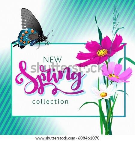 Spring sale background with beautiful colorful flower. #608461070