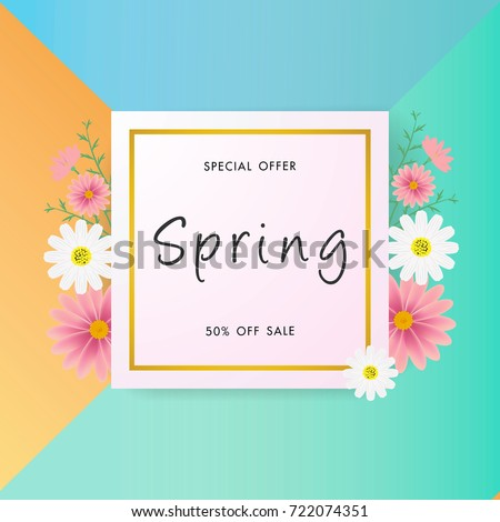 Spring sale background with beautiful flower, vector illustration template, banners, Wallpaper, invitation, posters, brochure, voucher discount. #722074351