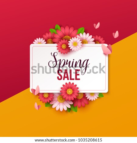 Spring sale background with beautiful flowers. #1035208615