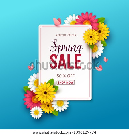 Spring sale background with beautiful flowers. #1036129774