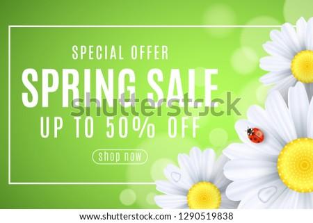 spring sale banner ladybug