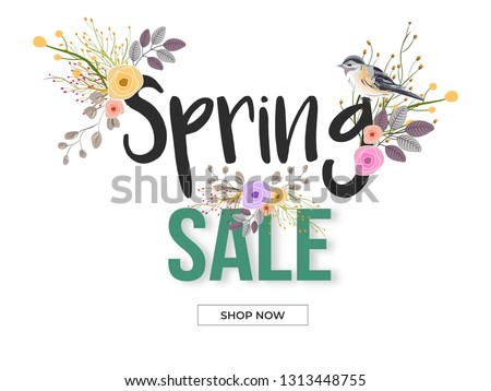 Spring Sale banner or poster design decorated with floral and bird illustration on white background.