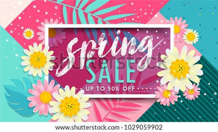 Spring Sale Banner. Paper cut Floral card. Spring blossom. Happy Women's Day. 8 March. Text. Seasonal holiday. Spring Sale Poster, voucher discount. Memphis style spring summer flyer easy editable.
