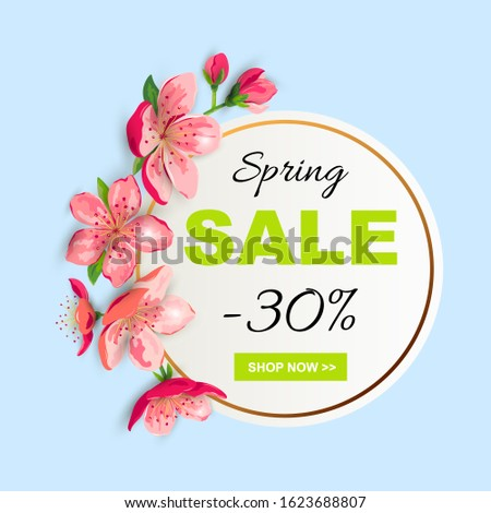 spring sale banner with cherry