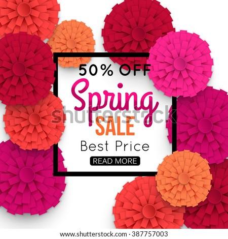 Spring Sale Banner with colorful paper flower and black frame. Vector Illustration.