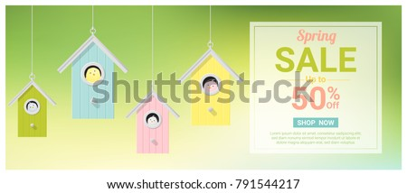 spring sale banner with little