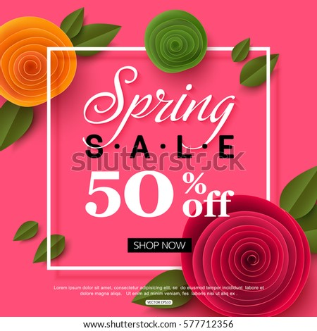 spring sale banner with paper