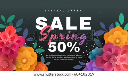 Spring sale banner with paper flowers on a black background. Vector illustration perfect for promotions, magazines, advertising, web sites.
