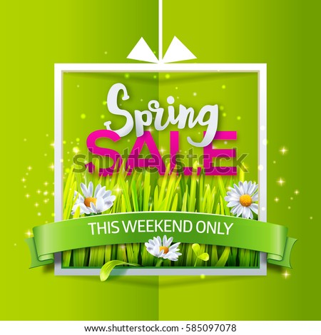 spring sale card with green