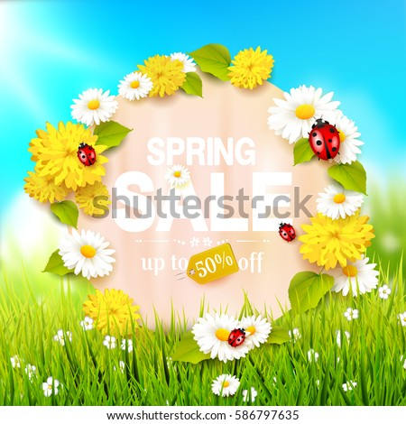 Spring sale flyer - sunny meadow with flowers and ladybugs in the grass