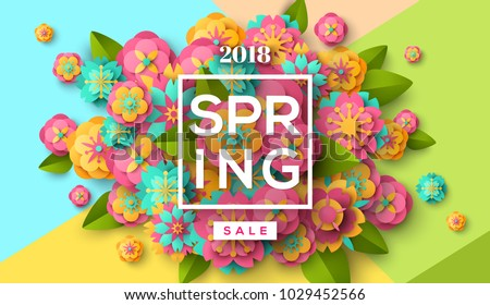 Spring sale flyer template with paper cut flowers and leaves with frame. Bright colorful geometric background. Vector illustration. Fresh design for posters, brochures or vouchers.
