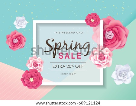 Spring sale poster with beautiful blossom flowers #609121124