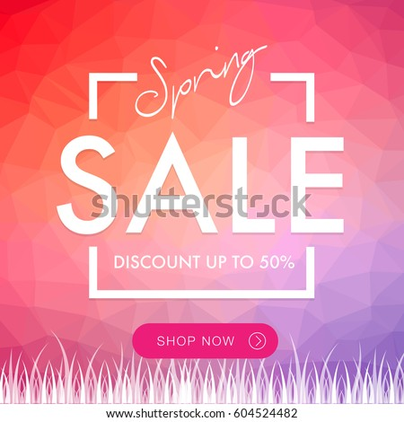 Spring Sale social network square banner with triangles pattern background