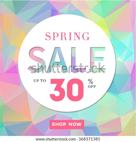 Spring Sale stylish banner  on polygonal background. Up to 30% off. Vector illustration.