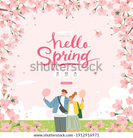 Spring sale template with beautiful flower. Vector illustration