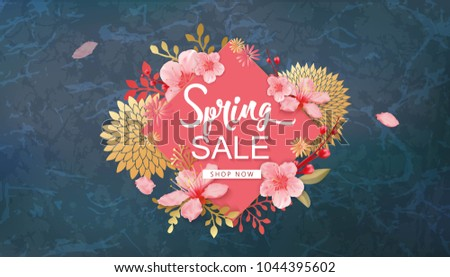 Spring Sale Vector Illustration. Seasonal Banner With Cherry Blossoms.