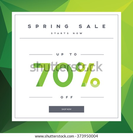 spring sales banner on green