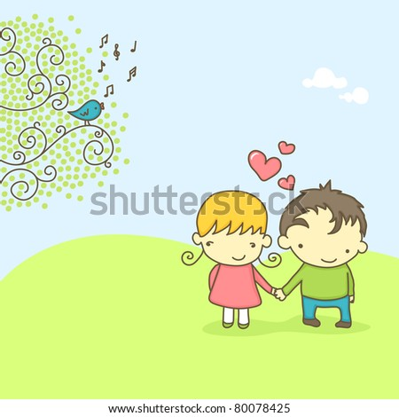 spring scene with cute couple