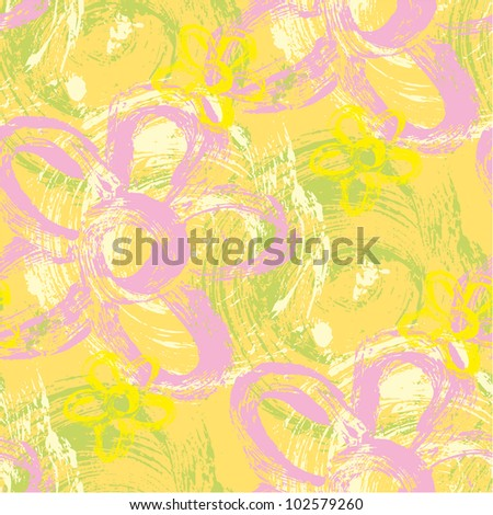 Spring seamless pattern made of wild strokes of daisy and spirals