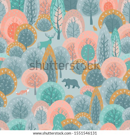 Spring seamless pattern with abstract flat handdrawn forest trees and forest animals: fox, deer, bear, hare. Great for fabric, textile, wrapping paper, scrapbooking. Vector Illustration - Vector