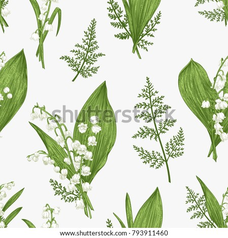 Spring seamless pattern with lily of the valley flowers.