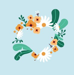 Spring season heart shape frame template, empty flower background with green leaf, daisy and bee. Flat nature cartoon concept, copy space design.