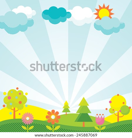 Spring Season Object Icons Background