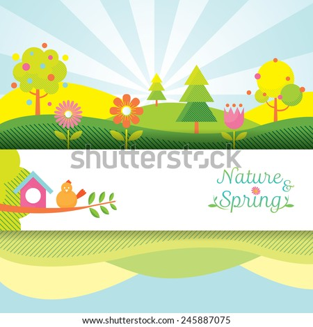 Spring Season Object Icons Banner & Background