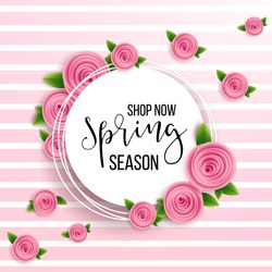 Spring season sale offer, banner template. Pink ribbon with lettering, isolated on pink dotted background. Feminine sale tag. Shop market poster design. Vector illustration. Elegant luxury design.