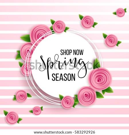 Spring season sale offer, banner template. Pink ribbon with lettering, isolated on pink dotted background. Feminine sale tag. Shop market poster design. Vector illustration. Elegant luxury design.