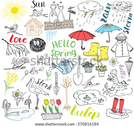 spring season set doodles