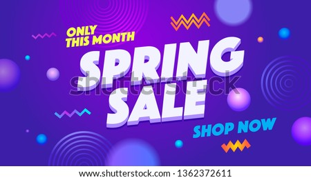 Spring sell out vector web banner template. Season sale promotion gradient illustration. Temporary discount, time limited offer. 3D advertising text on abstract memphis style background