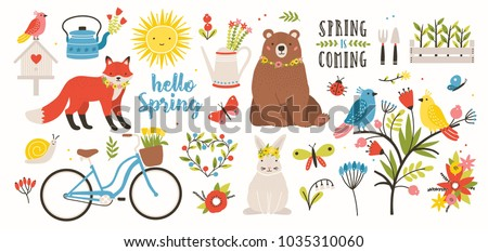 spring set collection of cute